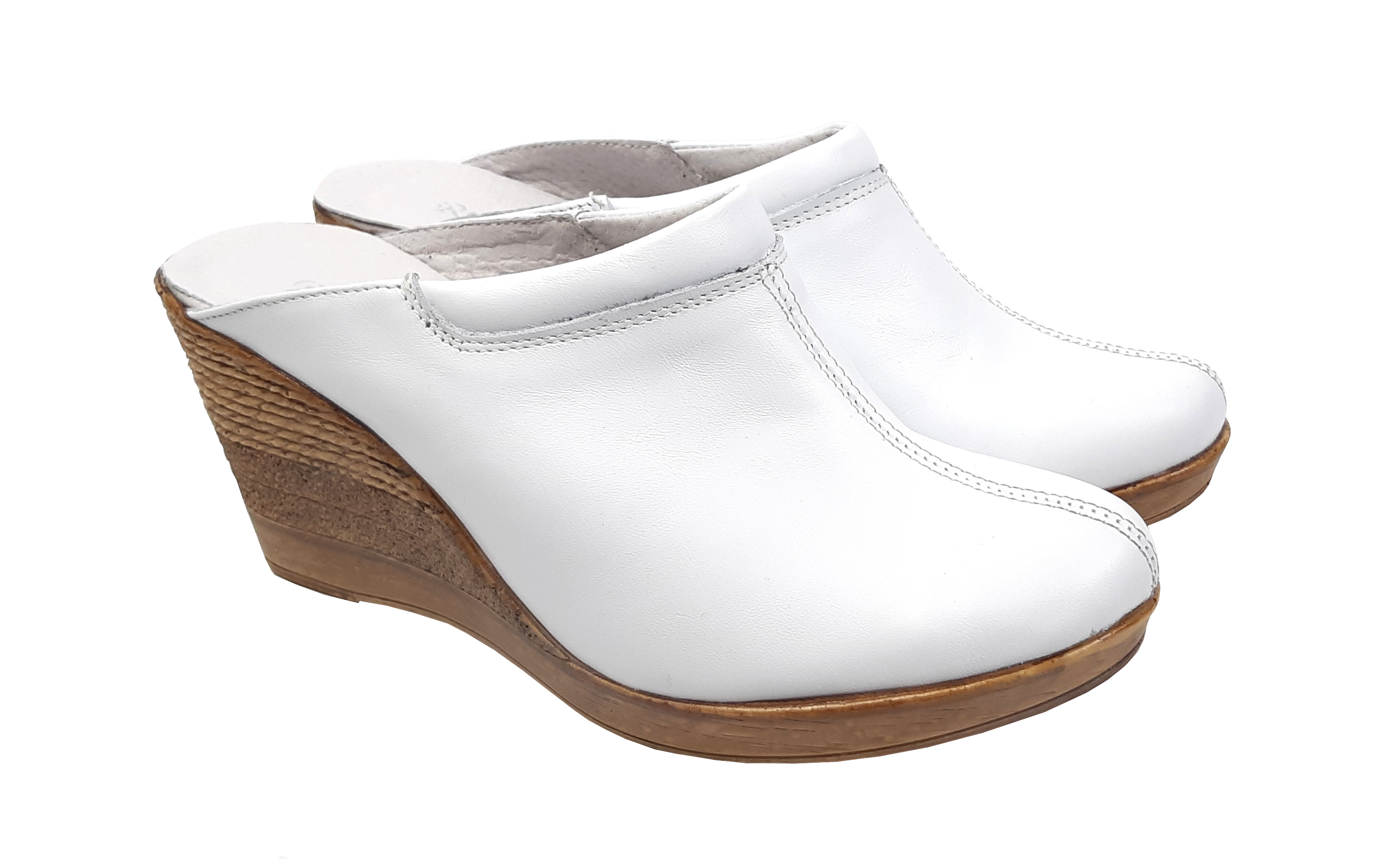 Saboti dama albi din piele naturala cu platforme de 7 cm - TEA19ALB