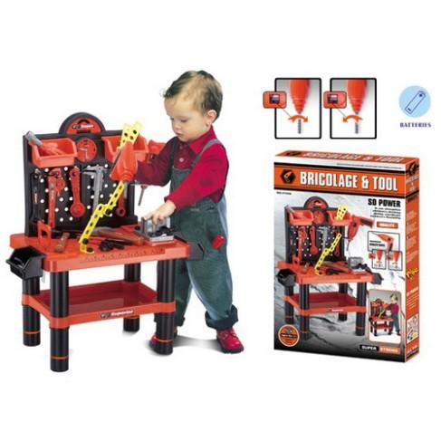 Jucarie constructiva - banc de scule mare cu bormasina electrica pentru copii