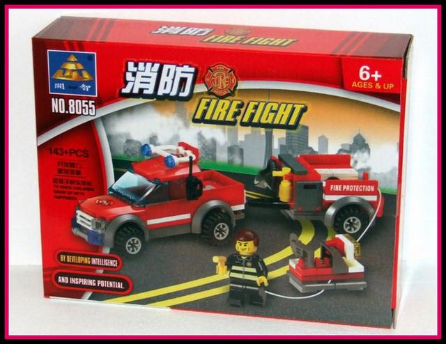 Jucarie constructiva KAZI 143 piese - Masina de pompieri cu remorca