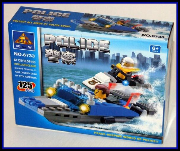 Jucarie constructiva KAZI - Barca de politie cu 125 piese