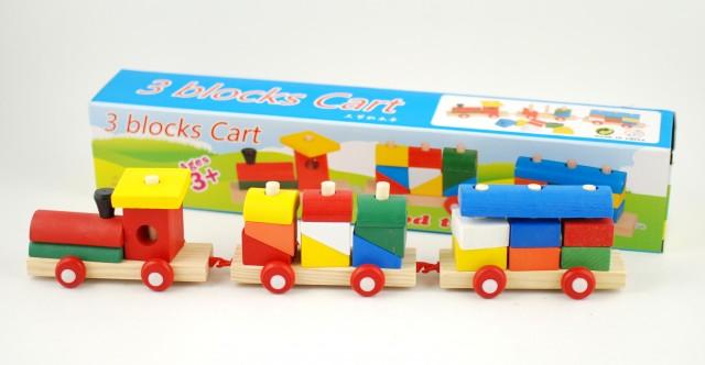 Jucarie creativa din lemn - Trenulet cu vagoane si forme