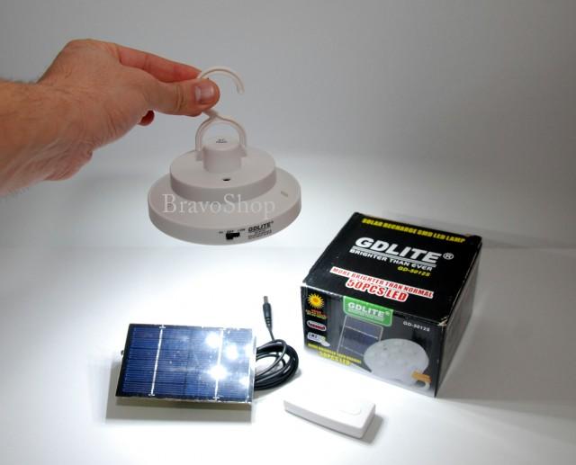 Lampa pentru rulota - lampa cort cu LED, incarcare solara si telecomanda