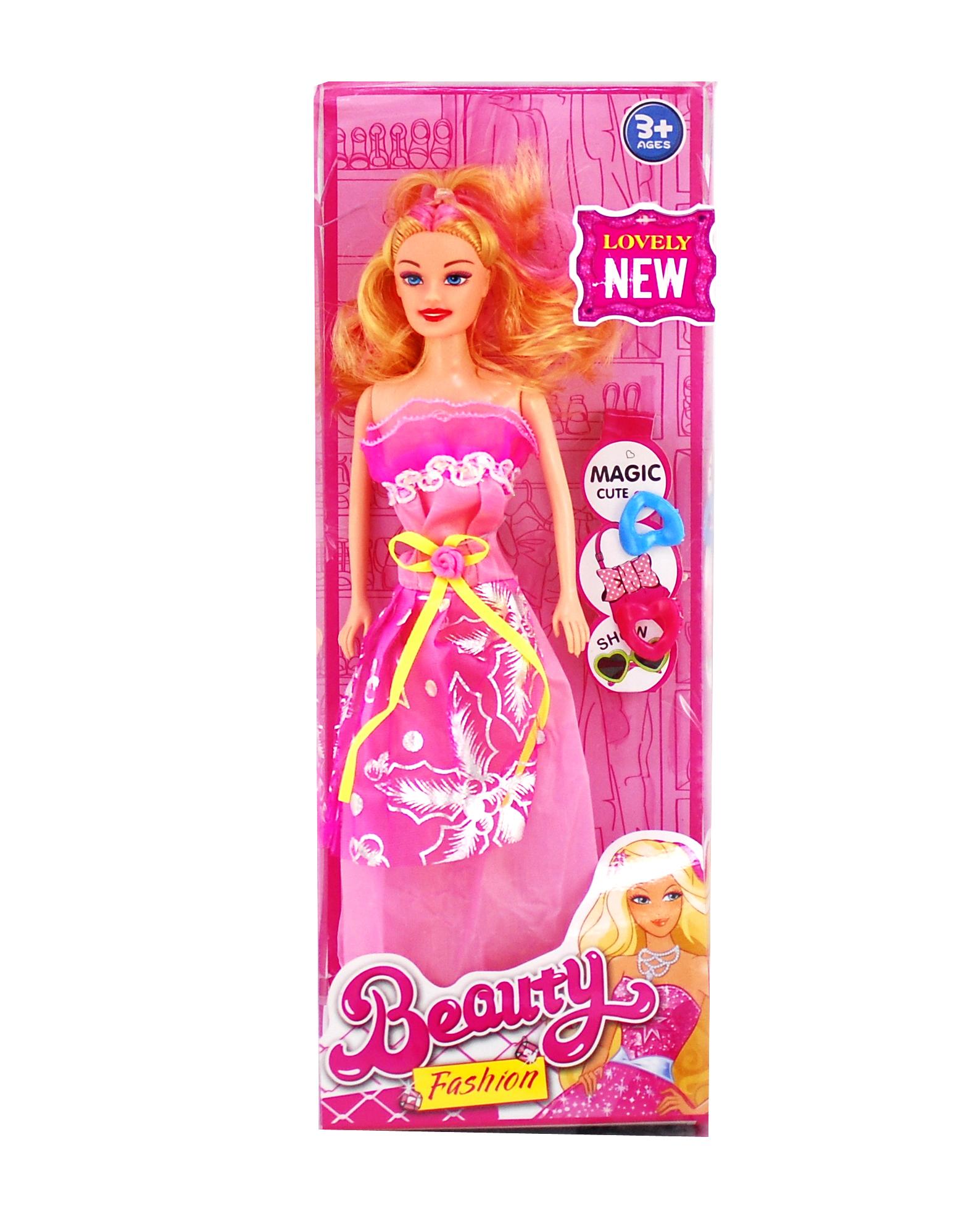 Papusa cu rochita roz si accesorii pentru par - beauty fashion